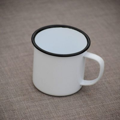 Enamel Cup - White Black Rim