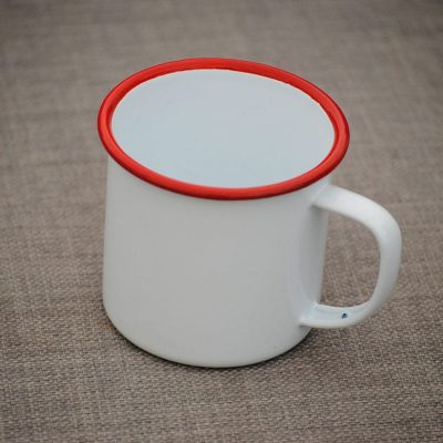 Enamel Cup - White Red Rim