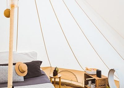Inside our 5m Bell Tents